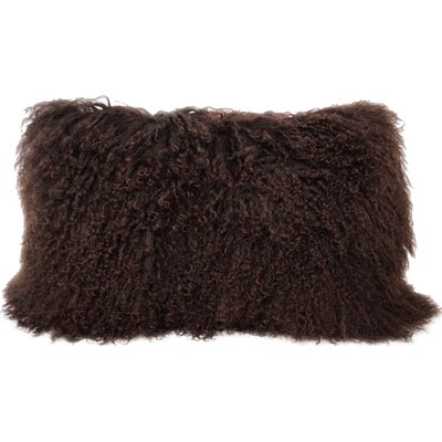 Fleming Tibetan Wool Lumbar Pillow Color: Chocolate