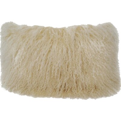 Fleming Tibetan Wool Lumbar Pillow Color: Off White