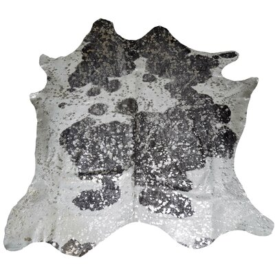 Designer Cowhides Silver Acid Wash on Black/White Area Rug