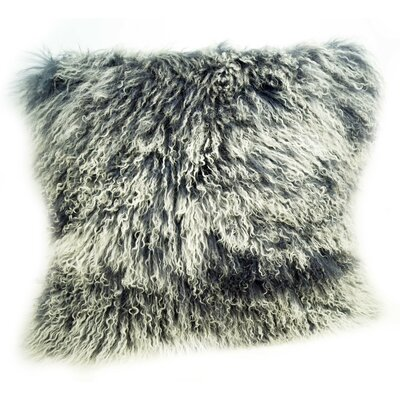 Tibetan Lamb Fur Throw Pillow Color: Gray Tipped, Size: 16 H x 16 W x 4 D