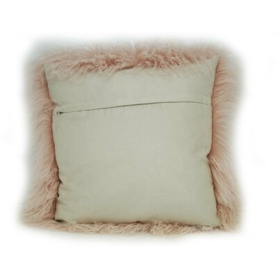 Tibetan Lamb Fur Throw Pillow Color: Blush, Size: 16 x 16 x 4