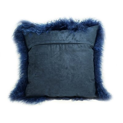 Tibetan Lamb Fur Throw Pillow Color: Nautical Blue, Size: 16 x 16 x 4
