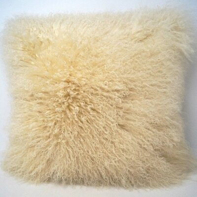 Tibetan Wool Throw Pillow Color: Off White
