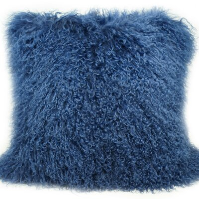 Janelle Tibetan Wool Throw Pillow Color: Nautical Blue