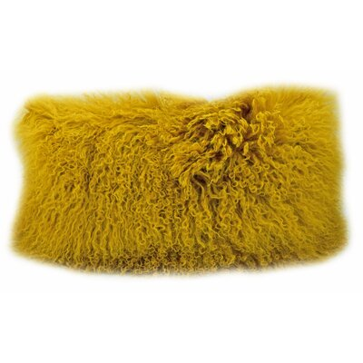 Fleming Tibetan Wool Lumbar Pillow Color: Mustard