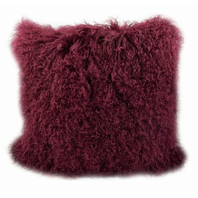 Tibetan Lamb Fur Throw Pillow Color: Cabernet, Size: 20 H x 20 W x 5 D