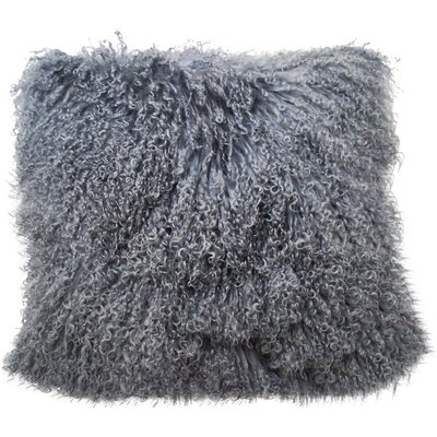 Tibetan Lamb Fur Throw Pillow Color: Gray, Size: 20 x 20 x 6