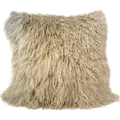 Janelle Tibetan Wool Throw Pillow Color: Champagne