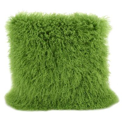 Tibetan Lamb Fur Throw Pillow Color: Greenery, Size: 16 H x 16 W x 4 D
