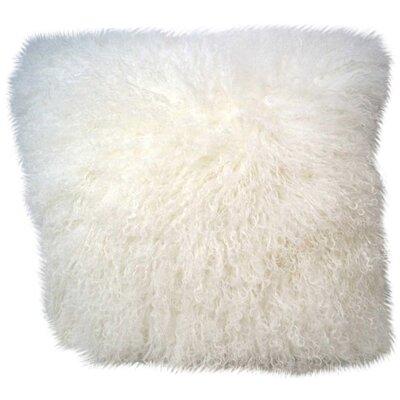 Tibetan Lamb Fur Throw Pillow Color: White, Size: 16 H x 16 W x 4 D