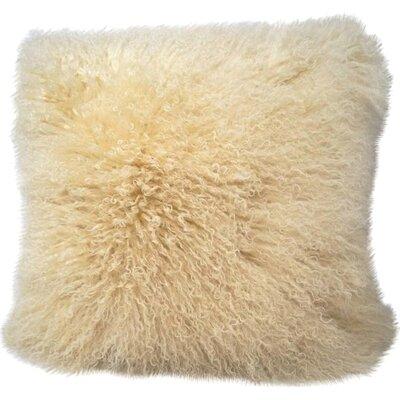 Tibetan Lamb Fur Throw Pillow Color: Cream, Size: 16 H x 16 W x 4 D