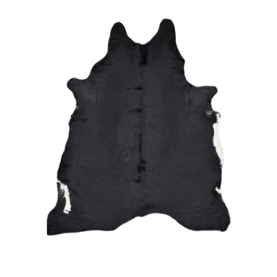 Natural Cowhides Solid Black Area Rug