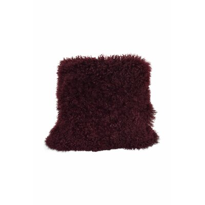 Tibetan Lamb Fur Throw Pillow Color: Cabernet, Size: 16 x 16 x 4