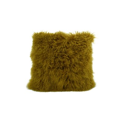 Tibetan Lamb Fur Throw Pillow Color: Mustard, Size: 20 x 20 x 5