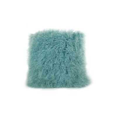 Tibetan Lamb Fur Throw Pillow Color: Light Teel, Size: 20 x 20 x 6