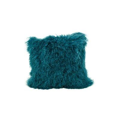 Tibetan Lamb Fur Throw Pillow Color: Dark Teel, Size: 20 x 20 x 6