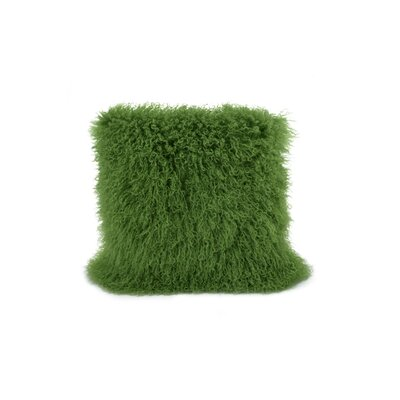 Tibetan Lamb Fur Throw Pillow Color: Greenery, Size: 16 x 16 x 4