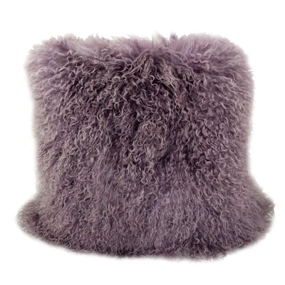 Tibetan Lamb Fur Throw Pillow Color: Mauve, Size: 20 x 20 x 6