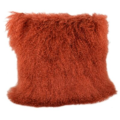 Tibetan Lamb Fur Throw Pillow Color: Rust, Size: 20 x 20 x 6
