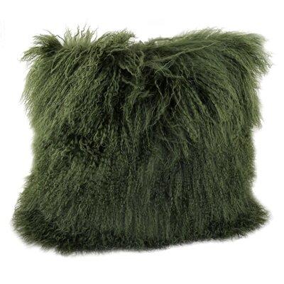 Tibetan Lamb Fur Throw Pillow Color: Olive, Size: 20 x 20 x 6