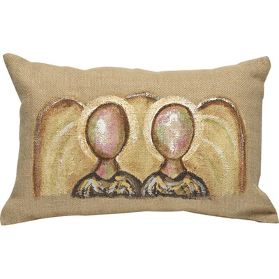 Greatly Blessed Angel Burlap Throw Pillow
