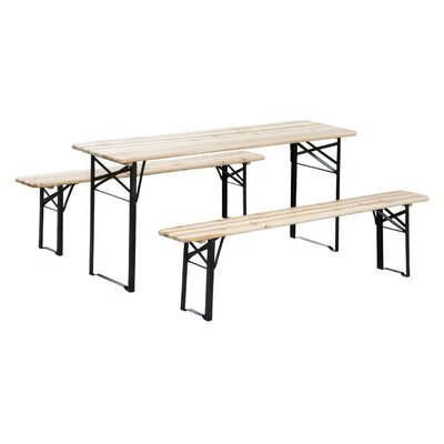 Baumgarten 3 Piece Outdoor Folding Picnic Table Set