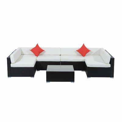 Rattan Wicker 7 Piece Sofa Seating Group with Cushion