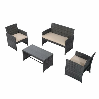 Rattan Wicker 4 Piece Deep Sofa Seating Group with Cushion