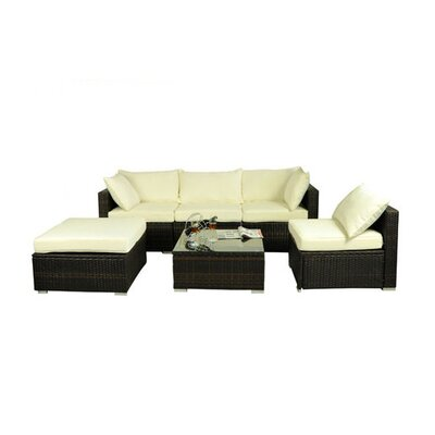 Aida 6 Piece Deep Sectional Seating Group with Cushion
