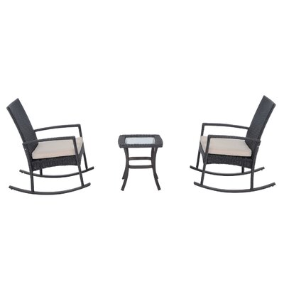 Kilgo 3 Piece Rocker Seating Group with Cushions Frame Finish: Gray