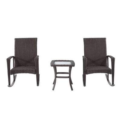 Kilgo 3 Piece Rocker Seating Group with Cushions Frame Finish: Brown