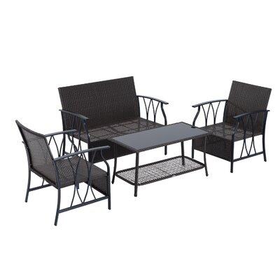 Judy 4 Piece Outdoor Rattan Wicker Sofa Seating Group