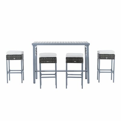 Baremeadow 5 Piece Steel Rattan Wicker Bar Set