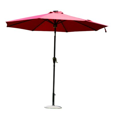 Chalfant 9 Solar LED Market Patio Illuminated Umbrella Color: Wine Red