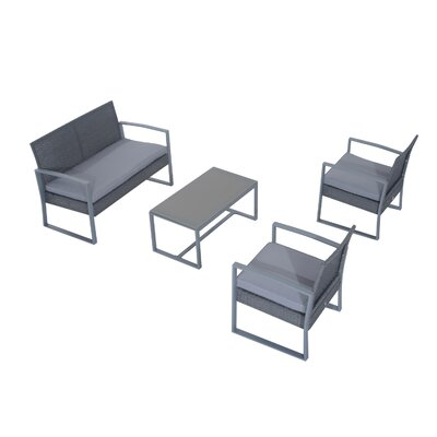 Cohen Outdoor 4 Piece Bench Sofa Seating Group with Cushion Set