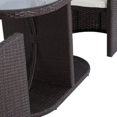 Barnett Rattan Wicker 3 Piece Lounge 2 Person Seating Group with Cushion