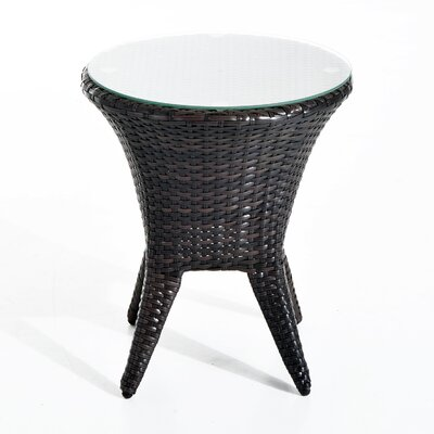 Shults Round PE Rattan Tea Table with Tempered Glass Top