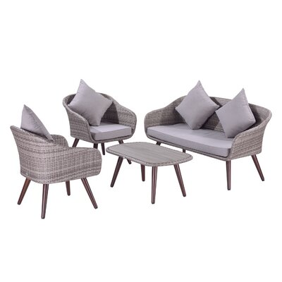 Brunswick 4 Piece Wicker Rattan Patio Conversation Set
