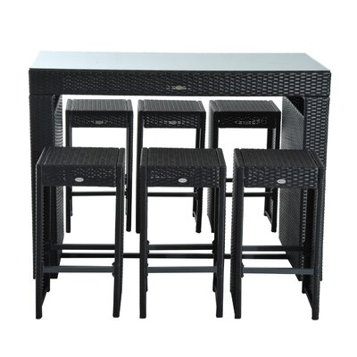 Kemmer 7 Piece�Rattan Wicker Bar Stool Dining Table Set
