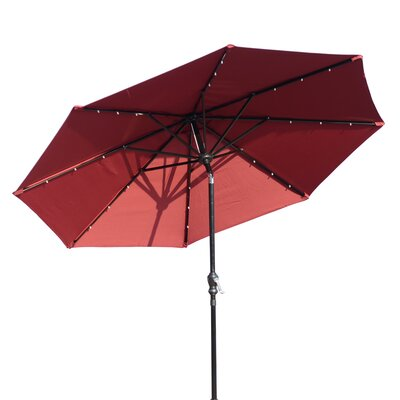 Karlson 8.5 Solar LED Market Patio Illuminated Umbrella Fabric: Wine Red