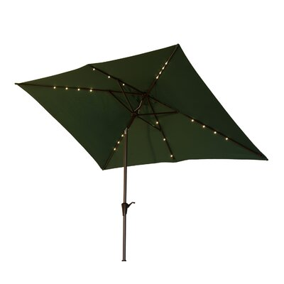 Karpinski 10 Solar Powered LED Lit Market Patio Square Illuminated Umbrella Fabric: Green