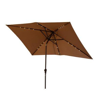 Karpinski 10 Solar Powered LED Lit Market Patio Square Illuminated Umbrella Fabric: Light Brown
