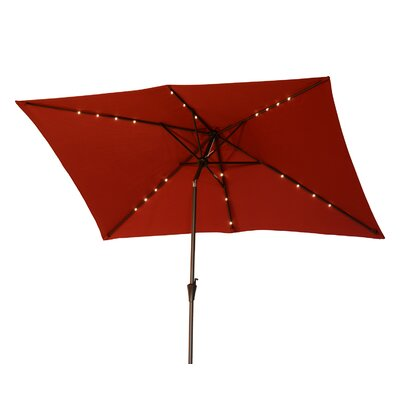 Karpinski 10 Solar Powered LED Lit Market Patio Square Illuminated Umbrella Fabric: Red