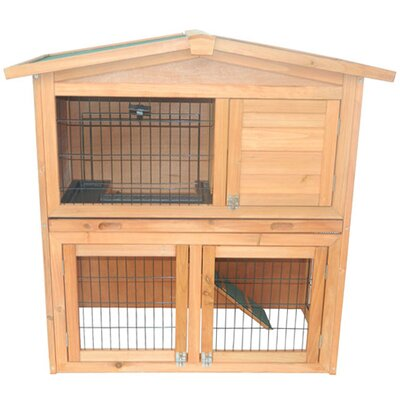 Pawhut 40 Wooden Rabbit Hutch Small Animal House Pet Cage