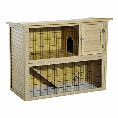 2-Story Composite Wood Backyard Rabbit Hutch