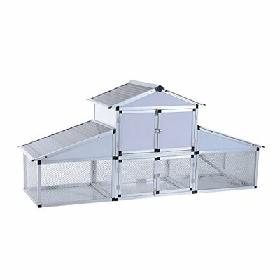 Lightweight Aluminum Frame Chicken Coop with nesting box and outdoor run