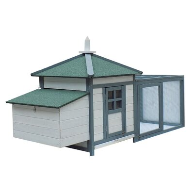 Chicken Coop with Run Color: White/Gray