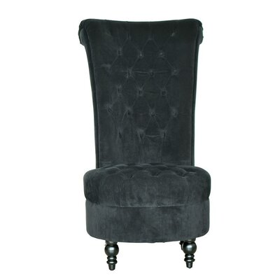 Tufted High Back Velvet Wingback Chair and Ottoman