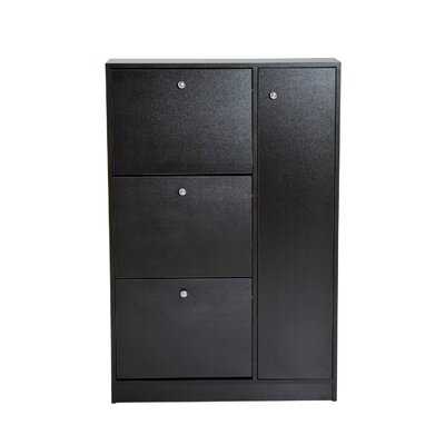 Pull Out Door 28 Pair Shoe Storage Cabinet Finish: Brown