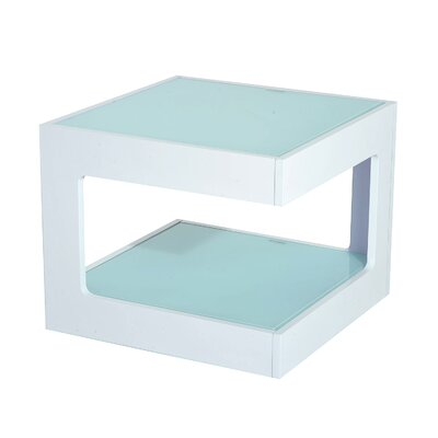 Atropos Modern Glass Top Cube End Table Color: White